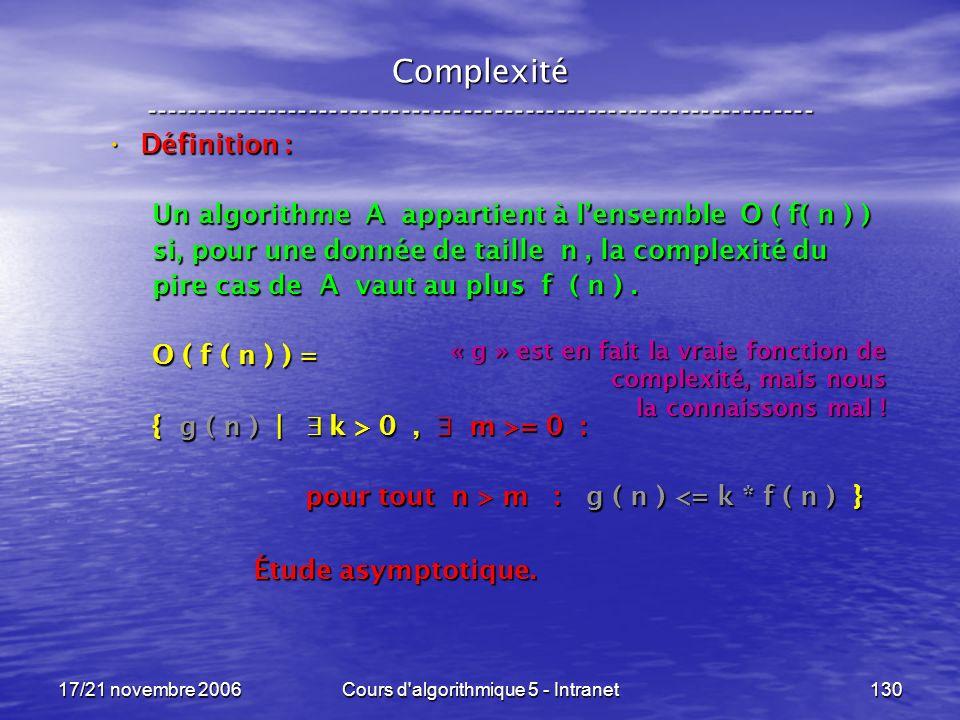 17/21 novembre 2006Cours d algorithmique 5 - Intranet130 Complexité ----------------------------------------------------------------- Définition : Définition : Un algorithme A appartient à lensemble O ( f( n ) ) si, pour une donnée de taille n, la complexité du pire cas de A vaut au plus f ( n ).