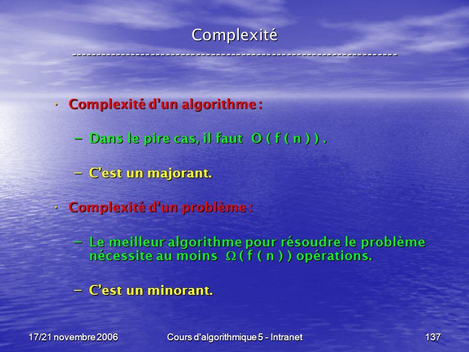 17/21 novembre 2006Cours d algorithmique 5 - Intranet137 Complexité ----------------------------------------------------------------- Complexité dun algorithme : Complexité dun algorithme : – Dans le pire cas, il faut O ( f ( n ) ).