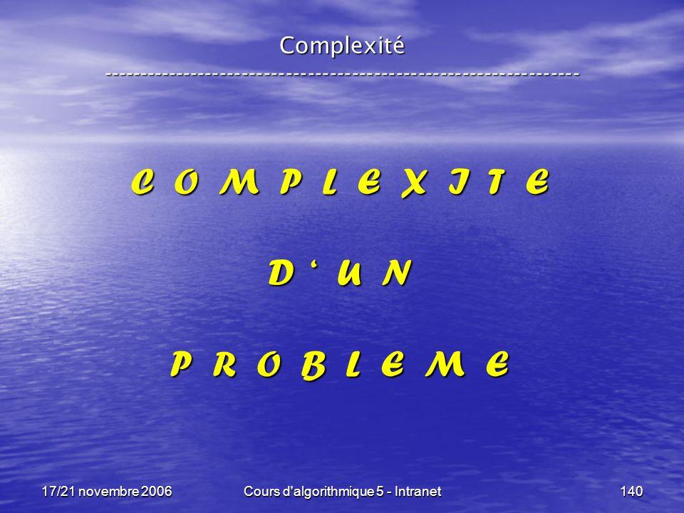 17/21 novembre 2006Cours d algorithmique 5 - Intranet140 Complexité ----------------------------------------------------------------- C O M P L E X I T E D U N P R O B L E M E
