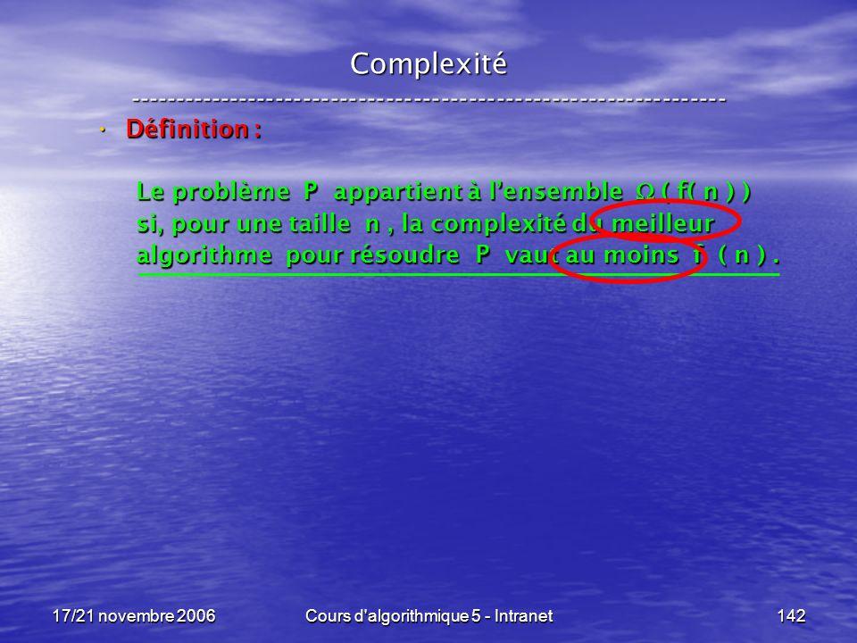 17/21 novembre 2006Cours d algorithmique 5 - Intranet142 Complexité ----------------------------------------------------------------- Définition : Définition : Le problème P appartient à lensemble ( f( n ) ) si, pour une taille n, la complexité du meilleur algorithme pour résoudre P vaut au moins f ( n ).