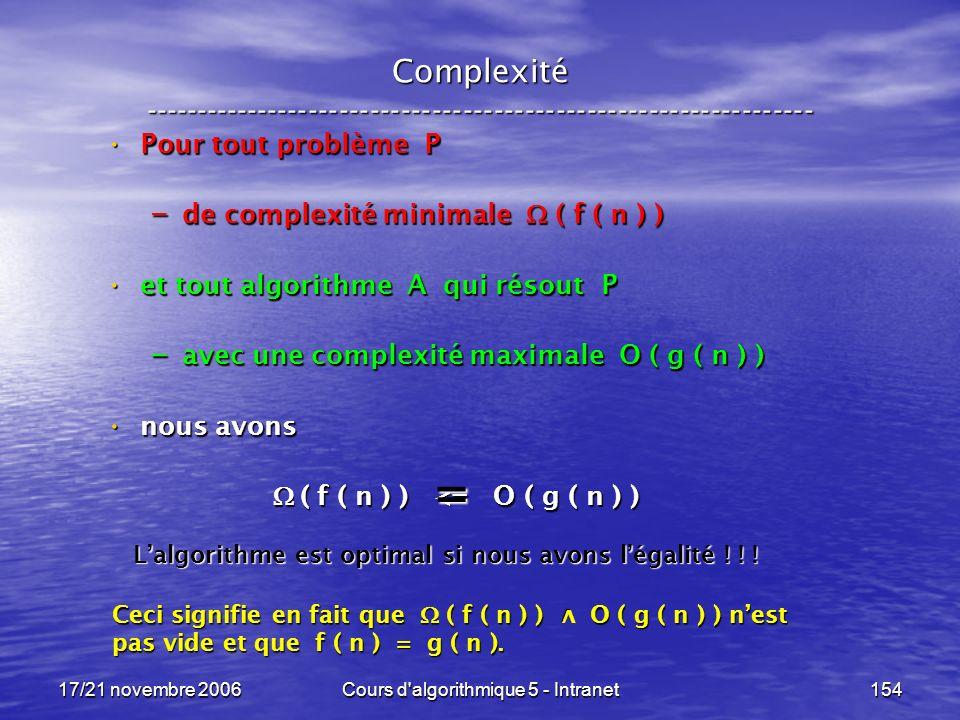 17/21 novembre 2006Cours d algorithmique 5 - Intranet154 Complexité ----------------------------------------------------------------- Pour tout problème P Pour tout problème P – de complexité minimale ( f ( n ) ) et tout algorithme A qui résout P et tout algorithme A qui résout P – avec une complexité maximale O ( g ( n ) ) nous avons nous avons ( f ( n ) ) <= O ( g ( n ) ) ( f ( n ) ) <= O ( g ( n ) ) Lalgorithme est optimal si nous avons légalité .