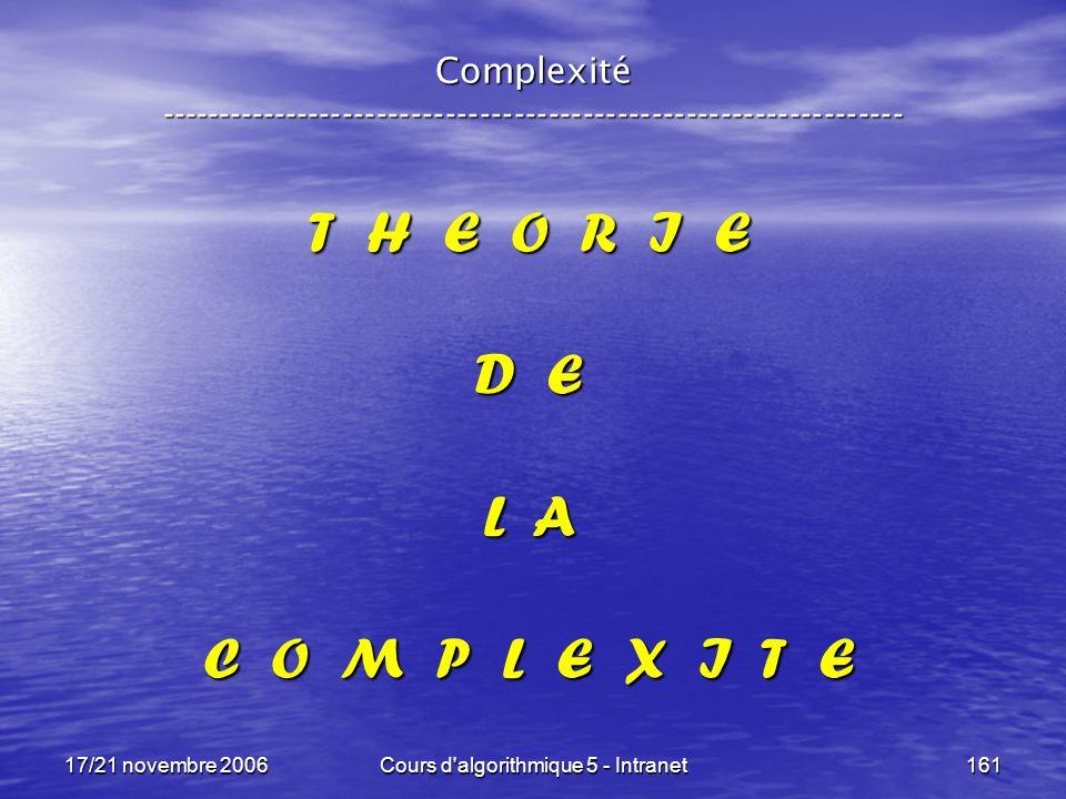 17/21 novembre 2006Cours d algorithmique 5 - Intranet161 Complexité ----------------------------------------------------------------- T H E O R I E D E L A C O M P L E X I T E