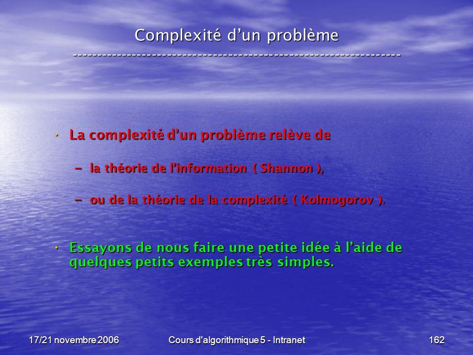 17/21 novembre 2006Cours d algorithmique 5 - Intranet162 Complexité dun problème ----------------------------------------------------------------- La complexité dun problème relève de La complexité dun problème relève de – la théorie de linformation ( Shannon ), – ou de la théorie de la complexité ( Kolmogorov ).