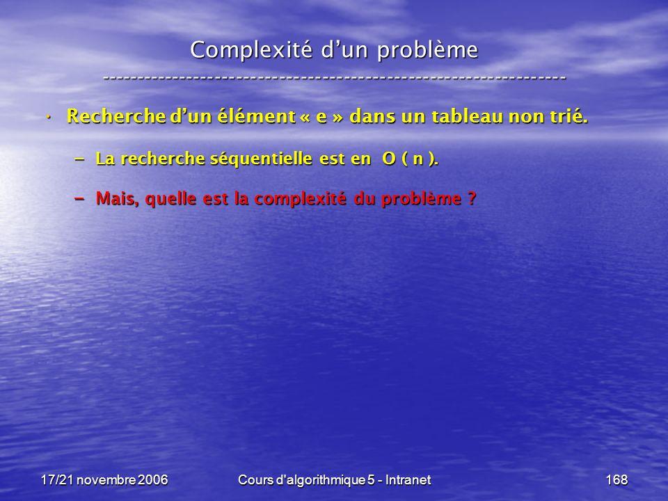 17/21 novembre 2006Cours d algorithmique 5 - Intranet168 Complexité dun problème ----------------------------------------------------------------- Recherche dun élément « e » dans un tableau non trié.