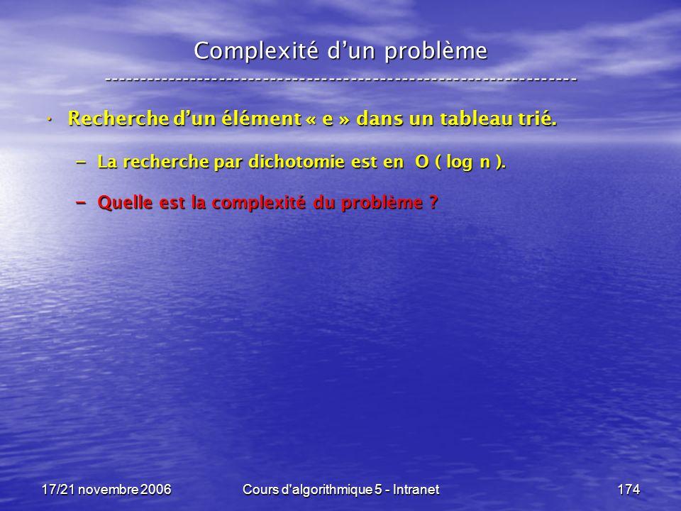 17/21 novembre 2006Cours d algorithmique 5 - Intranet174 Complexité dun problème ----------------------------------------------------------------- Recherche dun élément « e » dans un tableau trié.