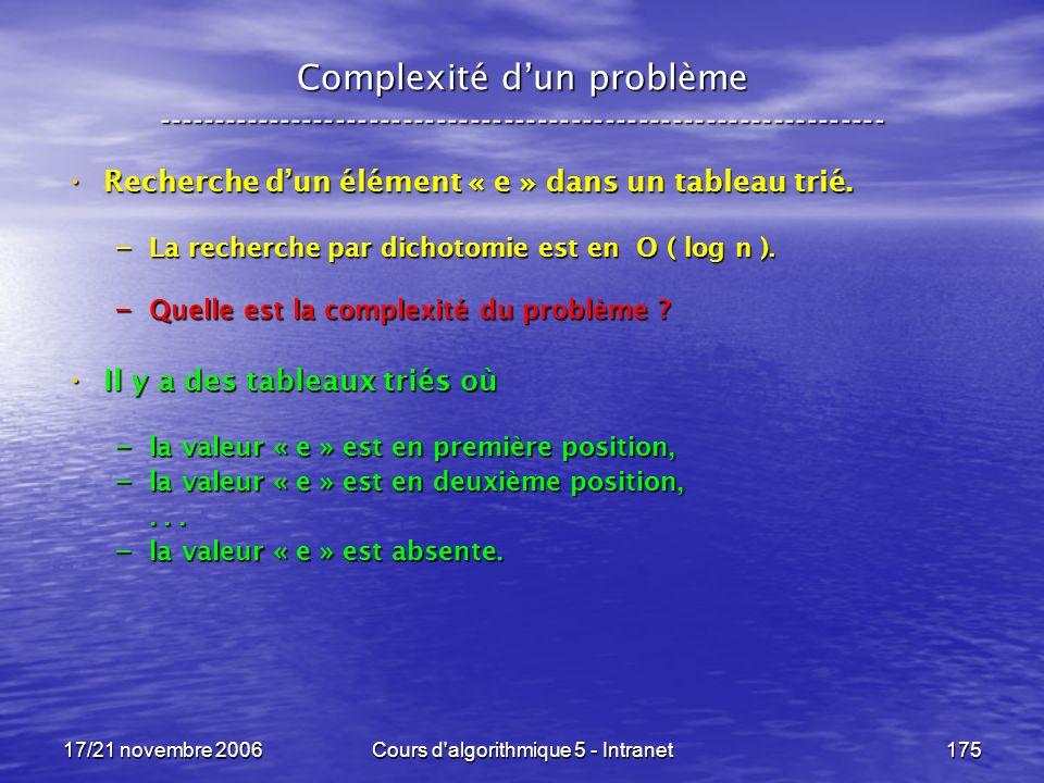 17/21 novembre 2006Cours d algorithmique 5 - Intranet175 Complexité dun problème ----------------------------------------------------------------- Recherche dun élément « e » dans un tableau trié.