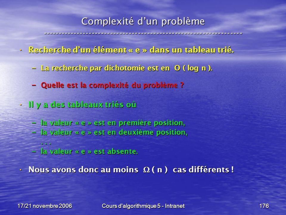 17/21 novembre 2006Cours d algorithmique 5 - Intranet176 Complexité dun problème ----------------------------------------------------------------- Recherche dun élément « e » dans un tableau trié.