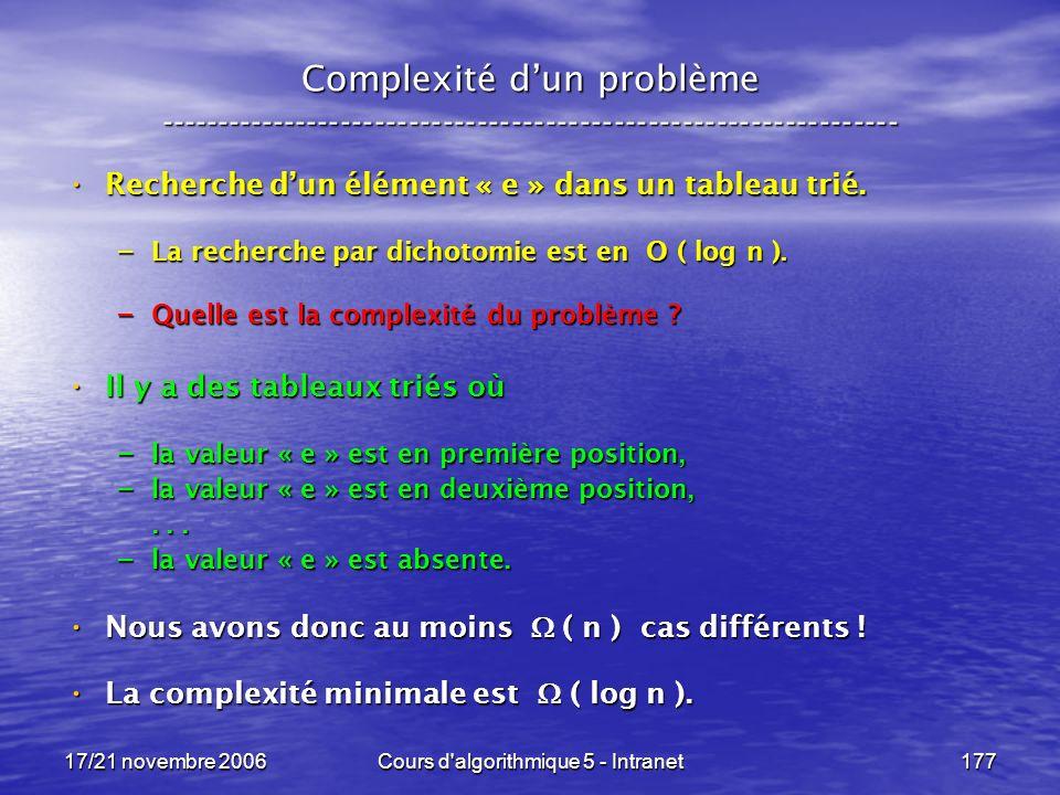 17/21 novembre 2006Cours d algorithmique 5 - Intranet177 Complexité dun problème ----------------------------------------------------------------- Recherche dun élément « e » dans un tableau trié.