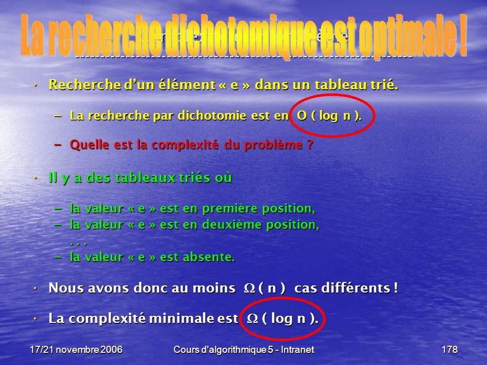 17/21 novembre 2006Cours d algorithmique 5 - Intranet178 Complexité dun problème ----------------------------------------------------------------- Recherche dun élément « e » dans un tableau trié.