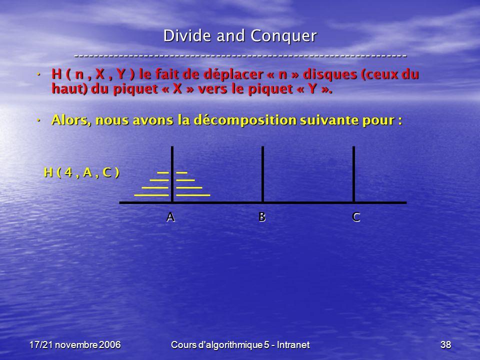 17/21 novembre 2006Cours d algorithmique 5 - Intranet38 Divide and Conquer ----------------------------------------------------------------- H ( n, X, Y ) le fait de déplacer « n » disques (ceux du haut) du piquet « X » vers le piquet « Y ».