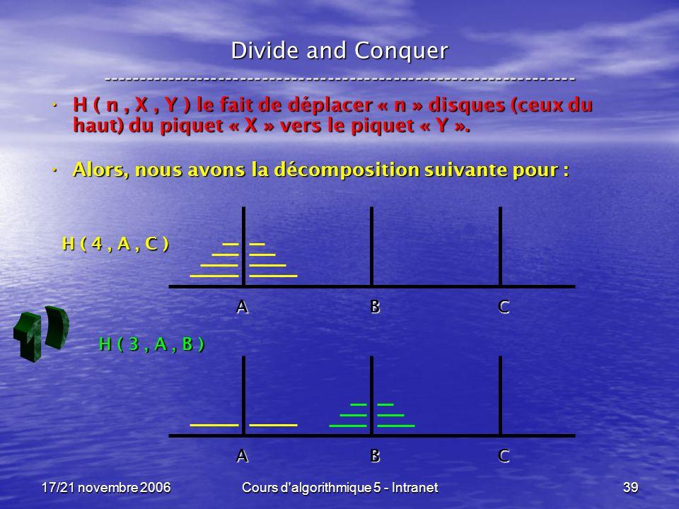 17/21 novembre 2006Cours d algorithmique 5 - Intranet39 Divide and Conquer ----------------------------------------------------------------- H ( n, X, Y ) le fait de déplacer « n » disques (ceux du haut) du piquet « X » vers le piquet « Y ».