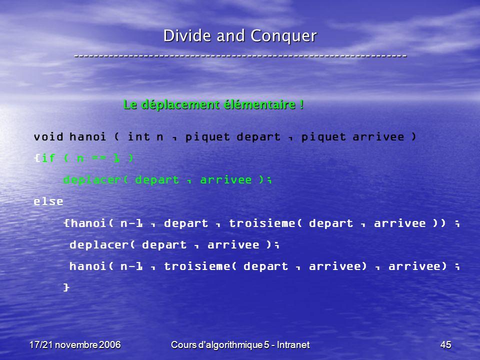 17/21 novembre 2006Cours d algorithmique 5 - Intranet45 Divide and Conquer ----------------------------------------------------------------- void hanoi ( int n, piquet depart, piquet arrivee ) {if ( n == 1 ) deplacer( depart, arrivee ); else {hanoi( n-1, depart, troisieme( depart, arrivee )) ; deplacer( depart, arrivee ); hanoi( n-1, troisieme( depart, arrivee), arrivee) ; } Le déplacement élémentaire !
