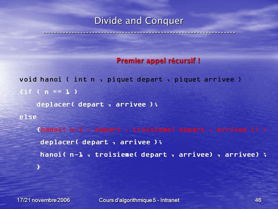 17/21 novembre 2006Cours d algorithmique 5 - Intranet46 Divide and Conquer ----------------------------------------------------------------- void hanoi ( int n, piquet depart, piquet arrivee ) {if ( n == 1 ) deplacer( depart, arrivee ); else {hanoi( n-1, depart, troisieme( depart, arrivee )) ; deplacer( depart, arrivee ); hanoi( n-1, troisieme( depart, arrivee), arrivee) ; } Premier appel récursif !