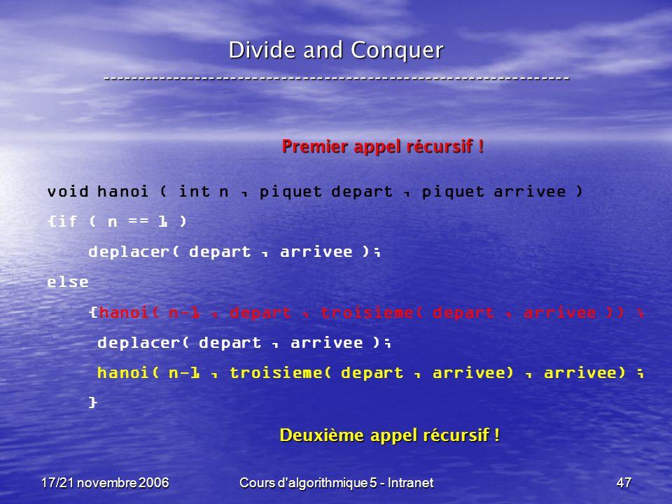 17/21 novembre 2006Cours d algorithmique 5 - Intranet47 Divide and Conquer ----------------------------------------------------------------- void hanoi ( int n, piquet depart, piquet arrivee ) {if ( n == 1 ) deplacer( depart, arrivee ); else {hanoi( n-1, depart, troisieme( depart, arrivee )) ; deplacer( depart, arrivee ); hanoi( n-1, troisieme( depart, arrivee), arrivee) ; } Premier appel récursif .