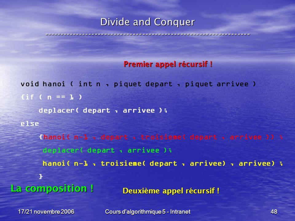 17/21 novembre 2006Cours d algorithmique 5 - Intranet48 Divide and Conquer ----------------------------------------------------------------- void hanoi ( int n, piquet depart, piquet arrivee ) {if ( n == 1 ) deplacer( depart, arrivee ); else {hanoi( n-1, depart, troisieme( depart, arrivee )) ; deplacer( depart, arrivee ); hanoi( n-1, troisieme( depart, arrivee), arrivee) ; } Premier appel récursif .