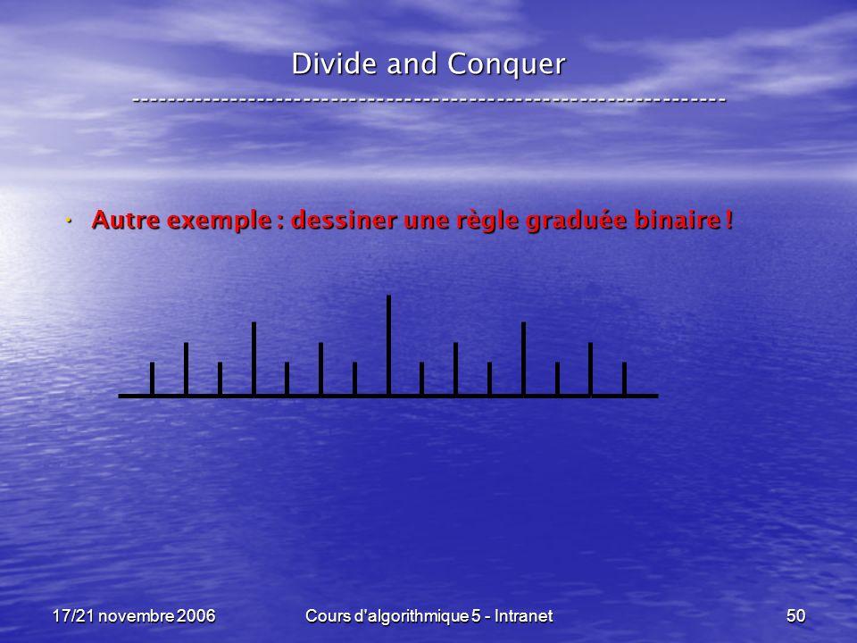 17/21 novembre 2006Cours d algorithmique 5 - Intranet50 Divide and Conquer ----------------------------------------------------------------- Autre exemple : dessiner une règle graduée binaire .