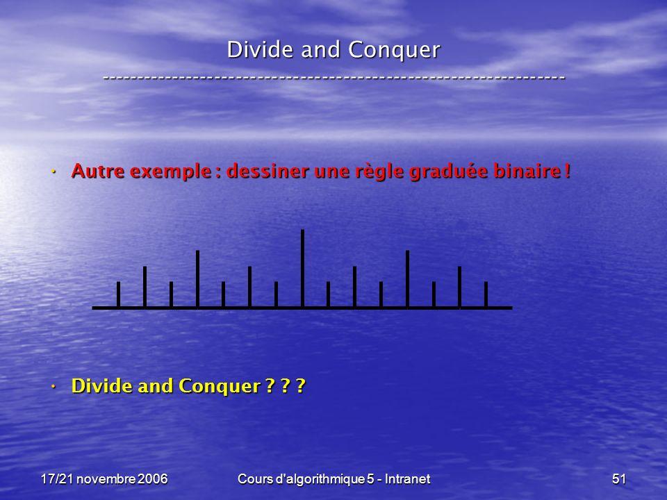 17/21 novembre 2006Cours d algorithmique 5 - Intranet51 Divide and Conquer ----------------------------------------------------------------- Autre exemple : dessiner une règle graduée binaire .