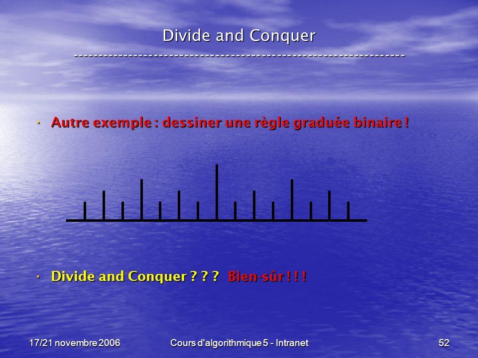 17/21 novembre 2006Cours d algorithmique 5 - Intranet52 Divide and Conquer ----------------------------------------------------------------- Autre exemple : dessiner une règle graduée binaire .
