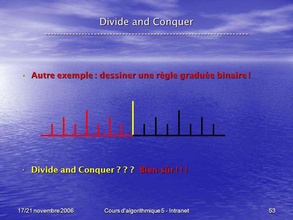17/21 novembre 2006Cours d algorithmique 5 - Intranet53 Divide and Conquer ----------------------------------------------------------------- Autre exemple : dessiner une règle graduée binaire .