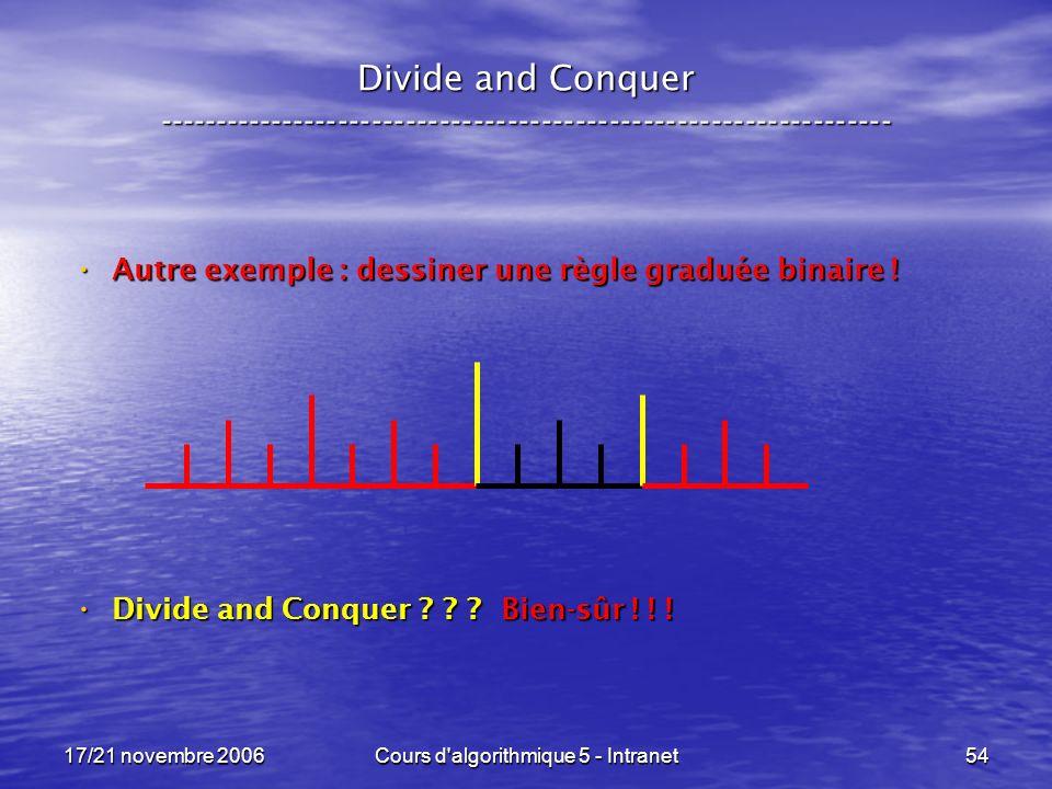 17/21 novembre 2006Cours d algorithmique 5 - Intranet54 Divide and Conquer ----------------------------------------------------------------- Autre exemple : dessiner une règle graduée binaire .