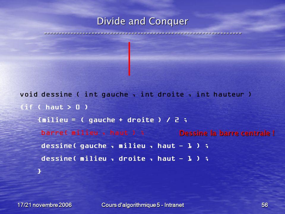 17/21 novembre 2006Cours d algorithmique 5 - Intranet56 Divide and Conquer ----------------------------------------------------------------- void dessine ( int gauche, int droite, int hauteur ) {if ( haut > 0 ) {milieu = ( gauche + droite ) / 2 ; barre( milieu, haut ) ; dessine( gauche, milieu, haut - 1 ) ; dessine( milieu, droite, haut - 1 ) ; } Dessine la barre centrale !