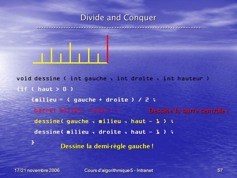 17/21 novembre 2006Cours d algorithmique 5 - Intranet57 Divide and Conquer ----------------------------------------------------------------- void dessine ( int gauche, int droite, int hauteur ) {if ( haut > 0 ) {milieu = ( gauche + droite ) / 2 ; barre( milieu, haut ) ; dessine( gauche, milieu, haut - 1 ) ; dessine( milieu, droite, haut - 1 ) ; } Dessine la demi-règle gauche .