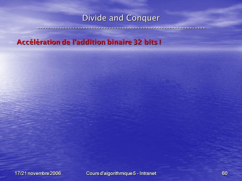 17/21 novembre 2006Cours d algorithmique 5 - Intranet60 Divide and Conquer ----------------------------------------------------------------- Accélération de laddition binaire 32 bits !