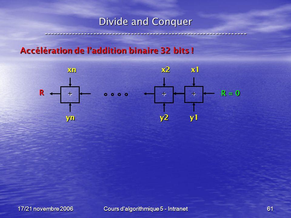 17/21 novembre 2006Cours d algorithmique 5 - Intranet61 Divide and Conquer ----------------------------------------------------------------- Accélération de laddition binaire 32 bits .