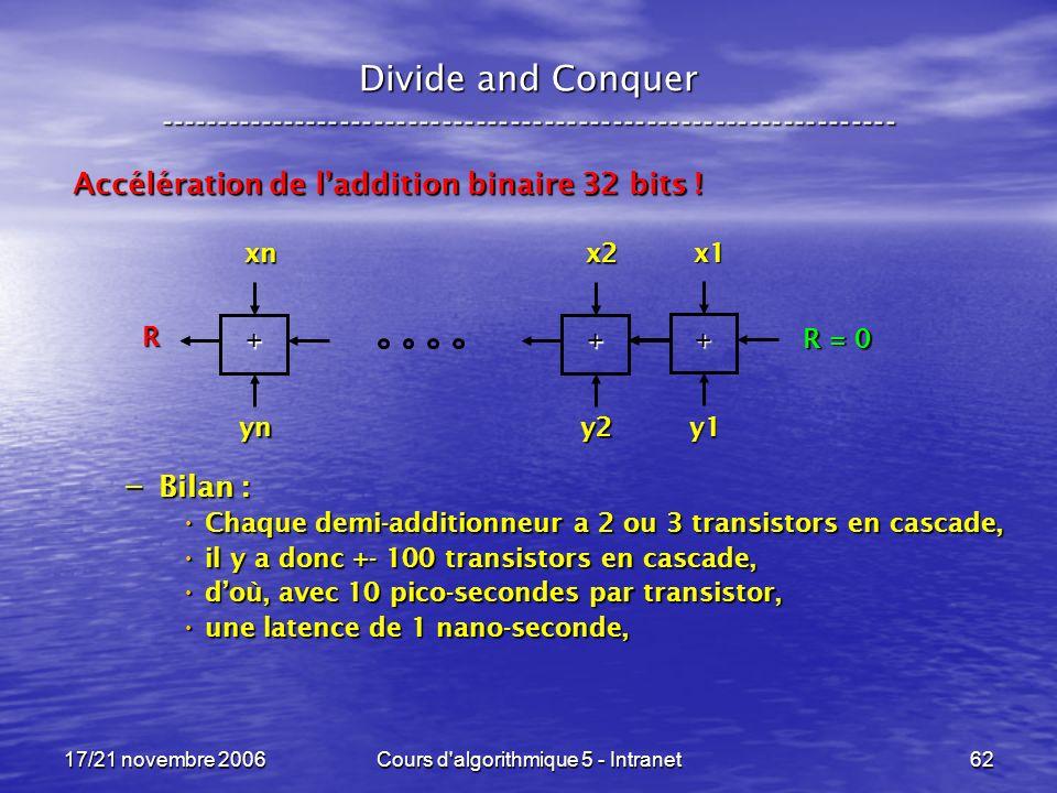 17/21 novembre 2006Cours d algorithmique 5 - Intranet62 Divide and Conquer ----------------------------------------------------------------- Accélération de laddition binaire 32 bits .