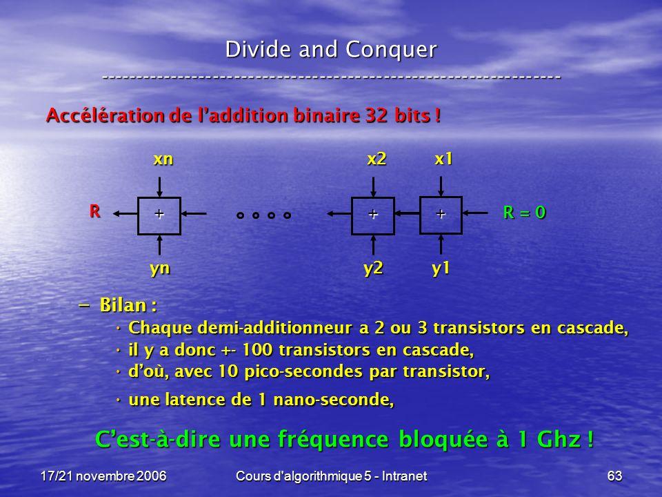 17/21 novembre 2006Cours d algorithmique 5 - Intranet63 Divide and Conquer ----------------------------------------------------------------- Accélération de laddition binaire 32 bits .