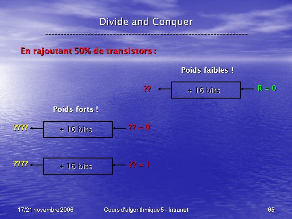17/21 novembre 2006Cours d algorithmique 5 - Intranet65 Divide and Conquer ----------------------------------------------------------------- En rajoutant 50% de transistors : + 16 bits R = 0 ?.