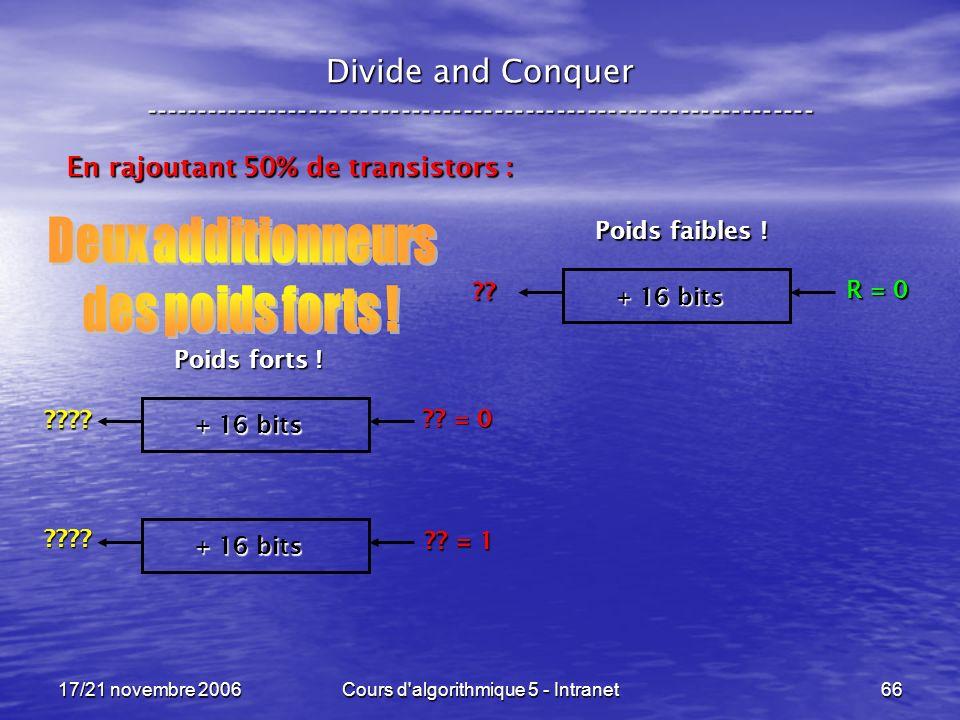17/21 novembre 2006Cours d algorithmique 5 - Intranet66 Divide and Conquer ----------------------------------------------------------------- En rajoutant 50% de transistors : + 16 bits R = 0 .