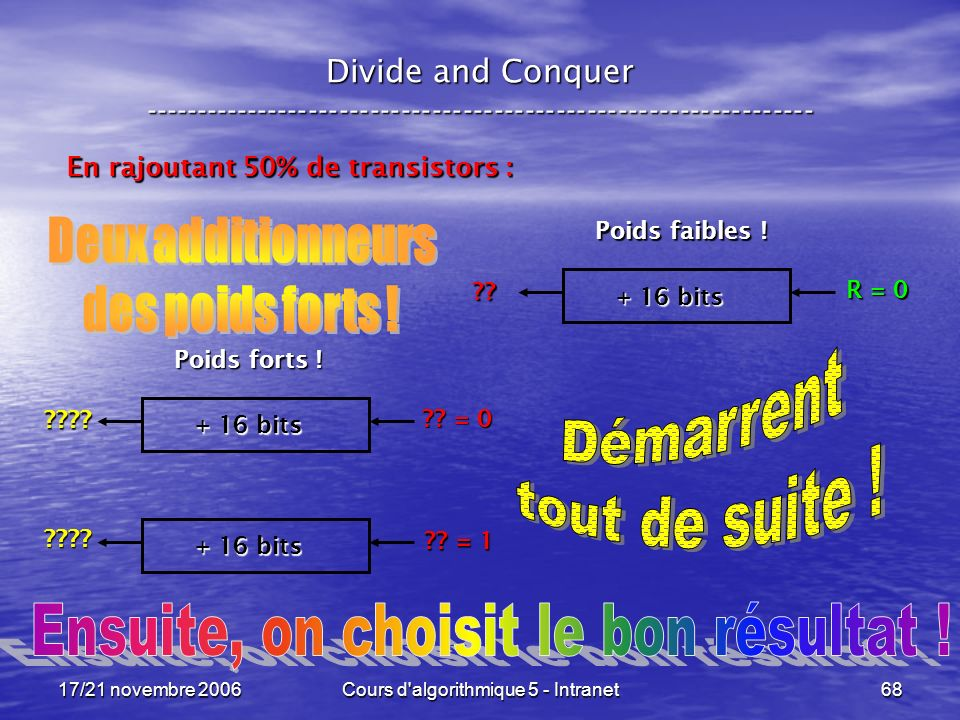 17/21 novembre 2006Cours d algorithmique 5 - Intranet68 Divide and Conquer ----------------------------------------------------------------- En rajoutant 50% de transistors : + 16 bits R = 0 ?.