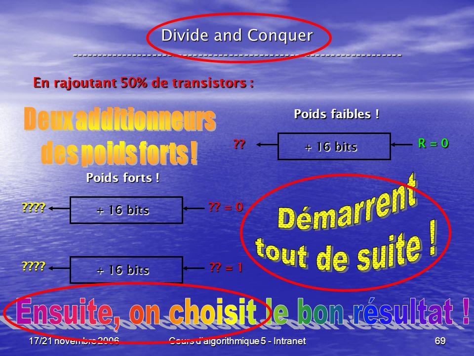 17/21 novembre 2006Cours d algorithmique 5 - Intranet69 Divide and Conquer ----------------------------------------------------------------- En rajoutant 50% de transistors : + 16 bits R = 0 ?.