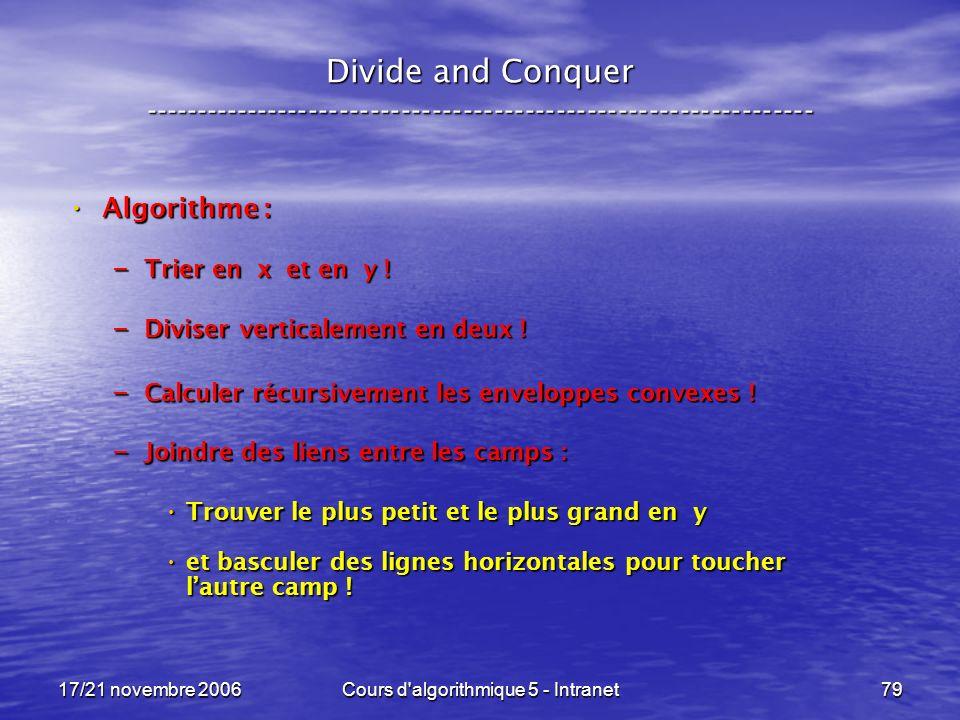 17/21 novembre 2006Cours d algorithmique 5 - Intranet79 Divide and Conquer ----------------------------------------------------------------- Algorithme : Algorithme : – Trier en x et en y .
