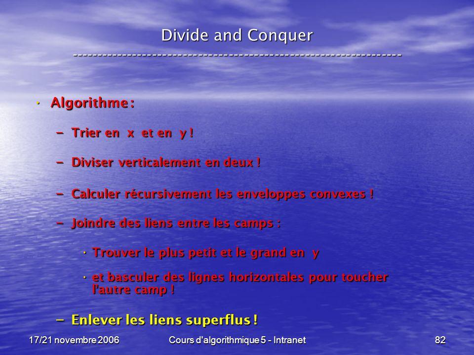 17/21 novembre 2006Cours d algorithmique 5 - Intranet82 Divide and Conquer ----------------------------------------------------------------- Algorithme : Algorithme : – Trier en x et en y .