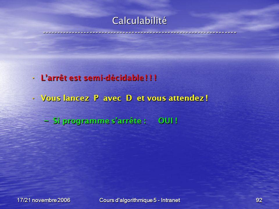 17/21 novembre 2006Cours d algorithmique 5 - Intranet92 Calculabilité ----------------------------------------------------------------- Larrêt est semi-décidable .