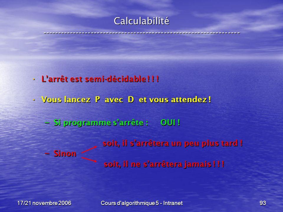 17/21 novembre 2006Cours d algorithmique 5 - Intranet93 Calculabilité ----------------------------------------------------------------- Larrêt est semi-décidable .
