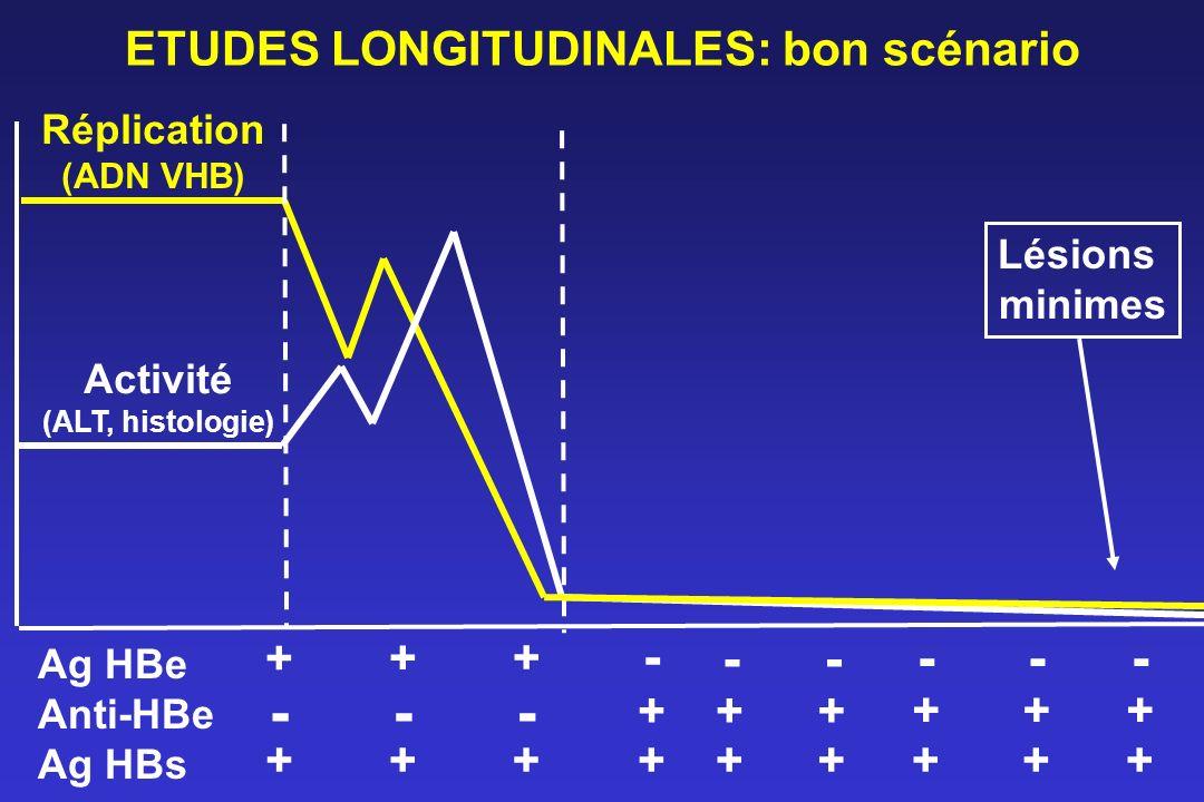 ETUDES LONGITUDINALES: bon scénario Réplication (ADN VHB) Activité (ALT, histologie) Ag HBe Anti-HBe Ag HBs - + + + - - - -- ++ + ++++++ - + + - + + L
