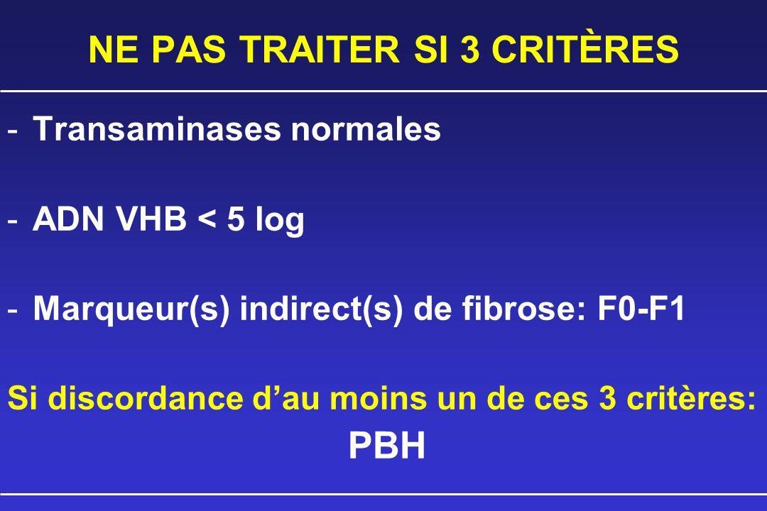 NE PAS TRAITER SI 3 CRITÈRES -Transaminases normales -ADN VHB < 5 log -Marqueur(s) indirect(s) de fibrose: F0-F1 Si discordance dau moins un de ces 3