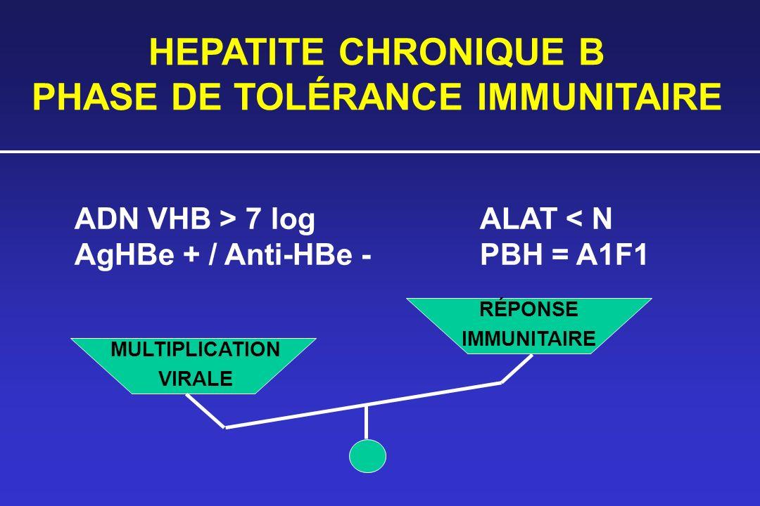 HEPATITE CHRONIQUE B PHASE DE TOLÉRANCE IMMUNITAIRE ADN VHB > 7 logALAT < N AgHBe + / Anti-HBe -PBH = A1F1 MULTIPLICATION VIRALE RÉPONSE IMMUNITAIRE