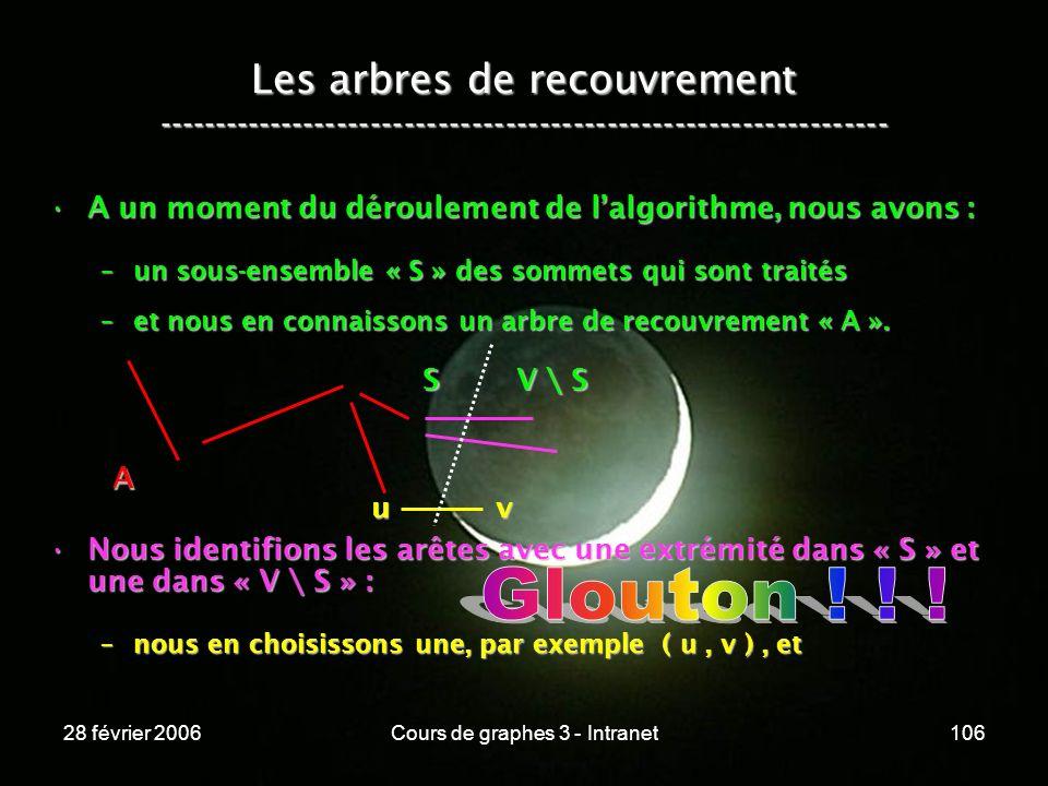 28 février 2006Cours de graphes 3 - Intranet106 Les arbres de recouvrement ----------------------------------------------------------------- A un moment du déroulement de lalgorithme, nous avons :A un moment du déroulement de lalgorithme, nous avons : –un sous-ensemble « S » des sommets qui sont traités –et nous en connaissons un arbre de recouvrement « A ».