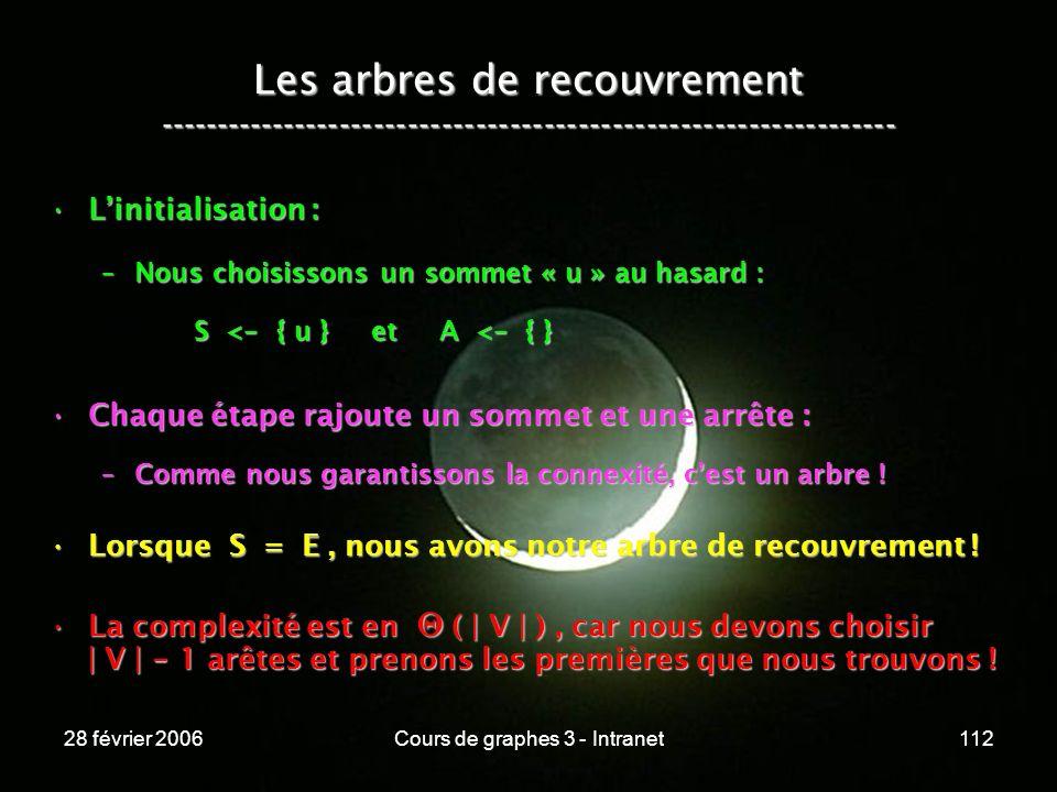 28 février 2006Cours de graphes 3 - Intranet112 Les arbres de recouvrement ----------------------------------------------------------------- Linitialisation :Linitialisation : –Nous choisissons un sommet « u » au hasard : S < - { u } et A < - { } S < - { u } et A < - { } Chaque étape rajoute un sommet et une arrête :Chaque étape rajoute un sommet et une arrête : –Comme nous garantissons la connexité, cest un arbre .