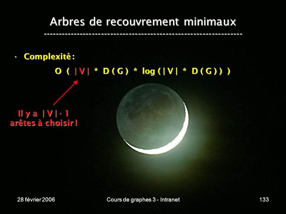 28 février 2006Cours de graphes 3 - Intranet133 Arbres de recouvrement minimaux ----------------------------------------------------------------- Complexité :Complexité : O ( | V | * D ( G ) * log ( | V | * D ( G ) ) ) O ( | V | * D ( G ) * log ( | V | * D ( G ) ) ) Il y a | V | - 1 arêtes à choisir !