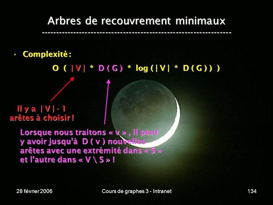 28 février 2006Cours de graphes 3 - Intranet134 Arbres de recouvrement minimaux ----------------------------------------------------------------- Complexité :Complexité : O ( | V | * D ( G ) * log ( | V | * D ( G ) ) ) O ( | V | * D ( G ) * log ( | V | * D ( G ) ) ) Il y a | V | - 1 arêtes à choisir .