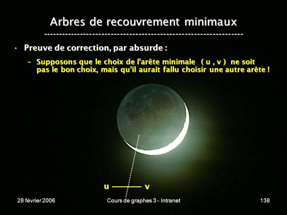 28 février 2006Cours de graphes 3 - Intranet138 Arbres de recouvrement minimaux ----------------------------------------------------------------- Preuve de correction, par absurde :Preuve de correction, par absurde : –Supposons que le choix de larête minimale ( u, v ) ne soit pas le bon choix, mais quil aurait fallu choisir une autre arête .