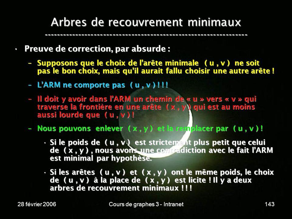 28 février 2006Cours de graphes 3 - Intranet143 Arbres de recouvrement minimaux ----------------------------------------------------------------- Preuve de correction, par absurde :Preuve de correction, par absurde : –Supposons que le choix de larête minimale ( u, v ) ne soit pas le bon choix, mais quil aurait fallu choisir une autre arête .