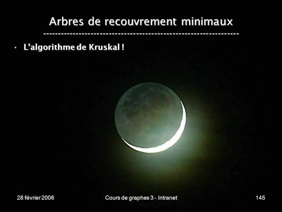 28 février 2006Cours de graphes 3 - Intranet145 Arbres de recouvrement minimaux ----------------------------------------------------------------- Lalgorithme de Kruskal !Lalgorithme de Kruskal !