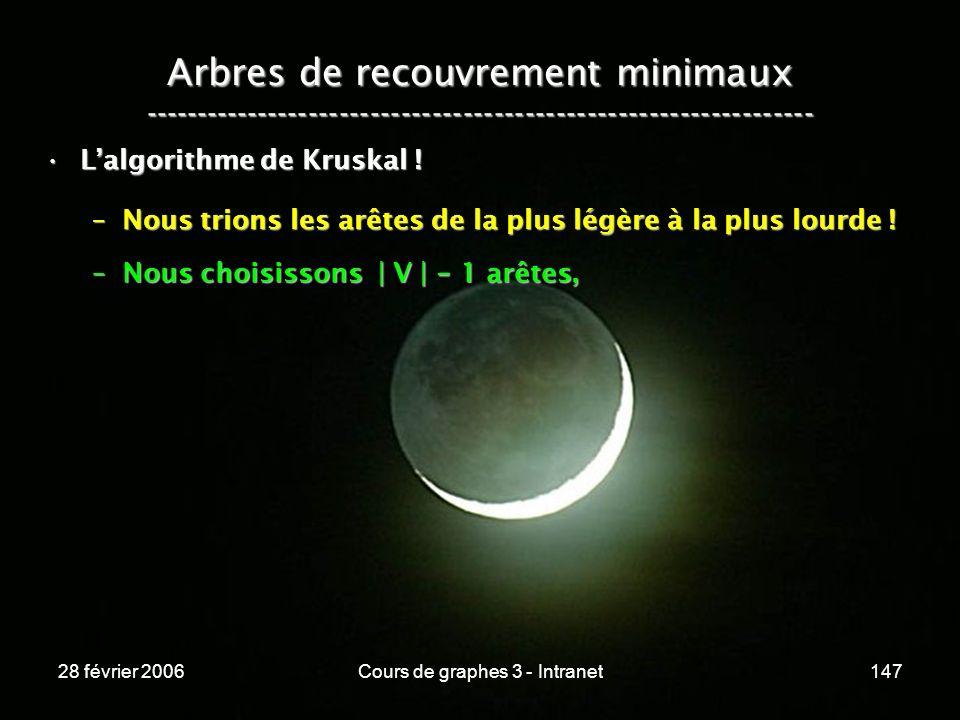 28 février 2006Cours de graphes 3 - Intranet147 Arbres de recouvrement minimaux ----------------------------------------------------------------- Lalgorithme de Kruskal !Lalgorithme de Kruskal .