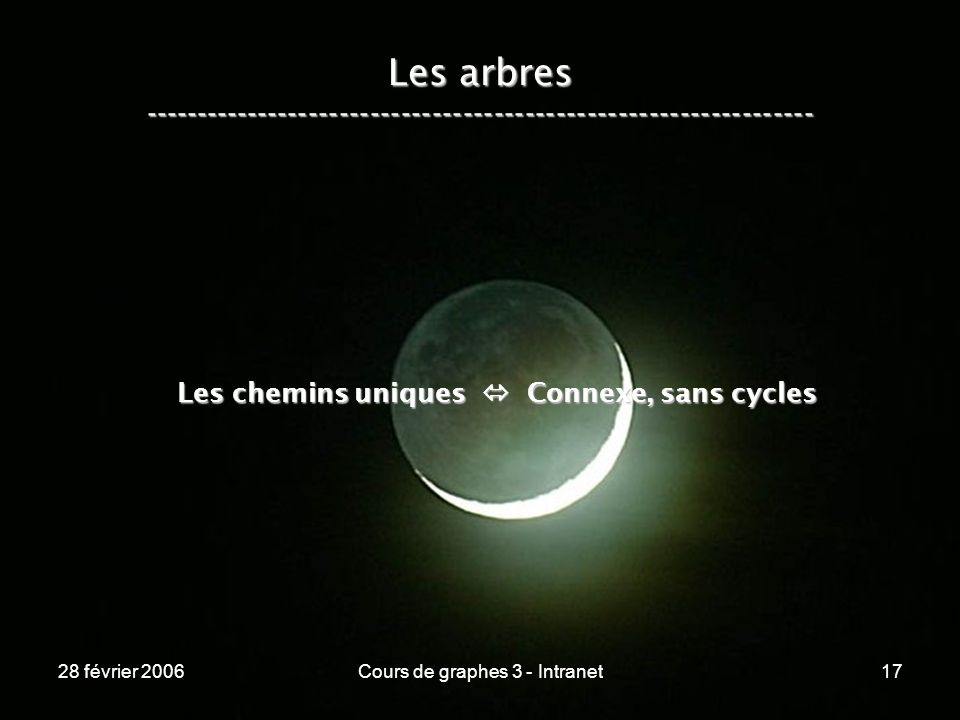 28 février 2006Cours de graphes 3 - Intranet17 Les arbres ----------------------------------------------------------------- Les chemins uniques Connexe, sans cycles